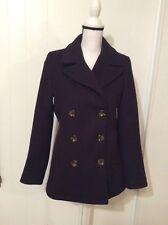 Kristen Blake Navy Blue Wool blend Double Breasted Peacoat COAT Lined size S