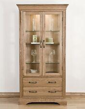 Lourdes solid oak french furniture glazed display cabinet cupboard