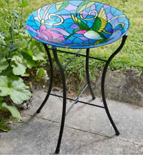 Beautiful Humingbird Hand Painted Glass Bird Bath