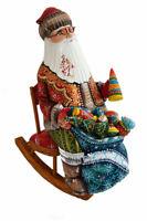 Bois sculpté Fait Main Le père Noel  - Père Noël sur une chaise