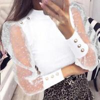 Womens Mesh Puff Long Sheer Sleeve Top Tops Pullover Blouse Shirts Party Club U