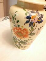 McCoy Pottery Ginger Jar Lidded Vase White Ivory Floral. Vintage 710 Excellent