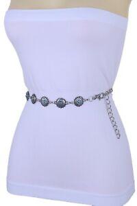 Women Bohemian Ethnic Fashion Belt Silver Metal Chain Turquoise Blue Flower S M
