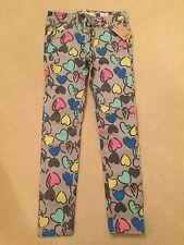 BNIP Boden Johnnie B Girls Grey Graffiti Heart Printed Skinny Jeans - Size 26R
