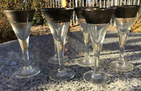 Dorothy Thorpe Silver Band  Liquor Stem Glasses Set Of 6 Vintage MCM EUC 4 1/2""