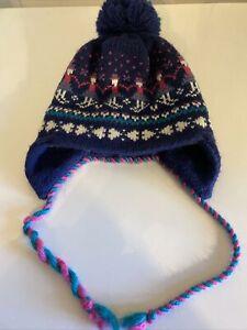 1 st team girls acrylic/ wool knit beanie hat navy multi. fair isle sz. L