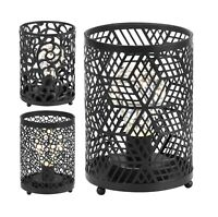 Battery Powered LED Bedside Table Lamp Cylinder Cut Out Cage Lights Night Light