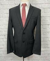 TALLIA Men's Charcoal Black Pinstripe 100% Wool Blazer Sport Coat 38R
