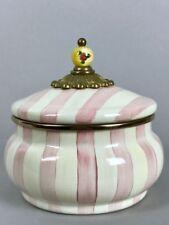 MacKenzie Childs Bathing Hut Pink Stripe Squash Pot Canister Rare More pcs avail
