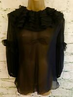 D&G Dolce & Gabbana Ladies Sheer Black Silk Ruffle Blouse UK 14 US 10 EU 42