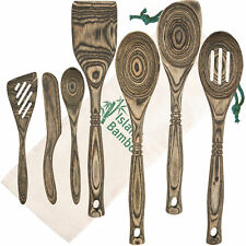Island Bamboo Black Pakka Wood 7-Piece Kitchen Utensil Set Cooking Spoons Tools