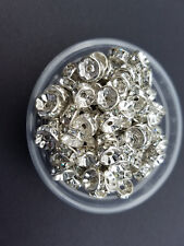 200- 6mm crystal on bright silver jeweled wedding ring beads fishing lures