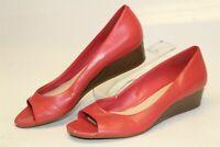 Cole Haan Womens Size 8 B Elsie Open Toe Wedge Pumps Leather Shoes D43572