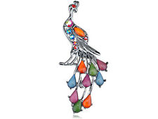 Silver Tone Crystal Rhinestone Bead Tail Train Peacock Phoenix Style Pin Brooch