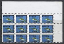 "GHANA SG2160a 2005 2000c SWORDFISH TYPE II ""BLACK PRINTED DOUBLE"" MNH BLK OF 12"
