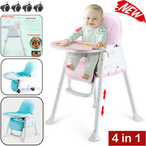 Adjustable 4-In-1 Baby Highchair Infant Feeding Seat Toddler Table Chair + Tray