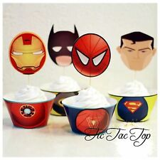 12pcs Avengers Superhero Cupcake Toppers + Wrappers. Party Jelly Cup Boy Batman