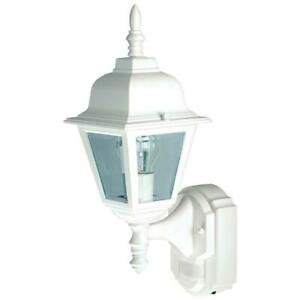 1-Light White Motion Activated Outdoor Wall Lantern Sconce by Heath Zenith