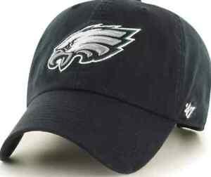 Philadelphia Eagles 47 Brand Clean Up Adjustable Field Classic Black Hat Cap