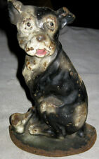 ANTIQUE CREATIONS COMPANY CAST IRON MUTT w/ HIS BONE TERRIER DOG HOME DOORSTOP