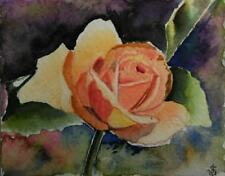 Hand Painted Original Watercolor ORANGE ROSE Garden Flower  Signed by JV