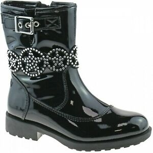 LELLI KELLY ANN MID GIRL JUNIOR YOUTH BLACK PATENT LEATHER CHILDRENS ANKLE BOOT
