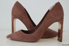 TED BAKER BUBELI BROWN SUEDE LEATHER WIDE HEEL COURTS SIZE 4 37 RRP £160 NEW!!!