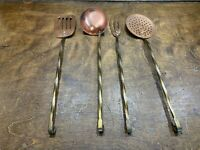 Vintage Kitchen Copper Utensil Set Ladle Spatula Strainer Fork w brass handles