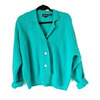 Vintage 1980s  slouchy grandma sweater aqua blue lambs wool women size large