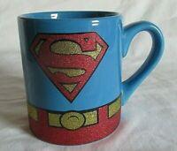"DC Comings Large Superman Glittery Gold Coffee Mug Dated 2011  4"" tall"