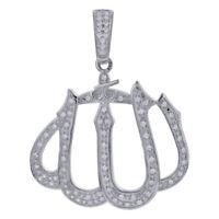 Sterling Silver Cubic Zirconia CZ Islamic Allah Pendant