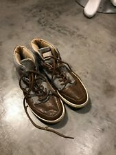 Pull and Bear Women's Brown Grey Leather Sneakers Shoes - SZ 39 9