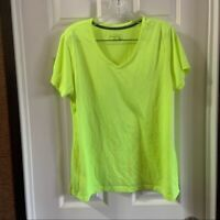 be inspired Women's Neon Yellow/Green V Neck Short Sleeve Tee XL