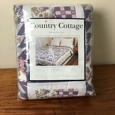 New Country Cottage Handcrafted Patchwork Quilt Full / Queen 86 x 86 Blue Floral