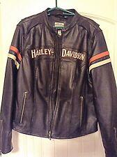 HARLEY DAVIDSON Women's XL Enthusiast Leather Jacket w/ Reflective Logos