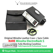⭐TESTED⭐ MINOLTA Electroflash S Flash Unit + Sync Cable + Leather Case [GRADE A]