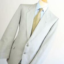 Billard Mens Grey Suit 44/40 Long Single Breasted Wool Blend Textured