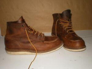 Red Wing Shoes Heritage 1907 Brown Leather Copper Rough and Tough Moc Boot 13 D