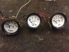"Auto Meter Auto Gage Volts Oil Pressure Water Temp 2-1/16"" Set White"