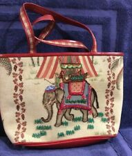 Isabella Fiore Red Leather/ Embroidered Beaded India Elephant Rider Tote Bag, BN