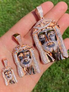 14k Rose Gold Over Real 925 Silver Hip Hop Jesus Piece Pendant Iced Men Necklace