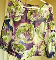 THE WRIGHTS S M SILK PURPLE GREEN FLORAL SHEER POET PLEATED SLEEVE BLOUSE WOMEN