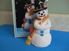 VTG.RESIN SNOWMAN WITH LIGHT UP CANDLE~IOB~top hat~squirrel~scarf and broom
