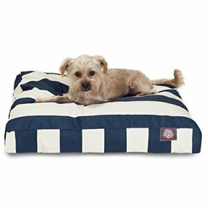 Navy Blue Vertical Stripe Small Rectangle Indoor Outdoor Pet Dog Bed With Rem...