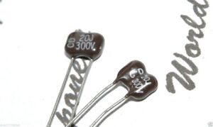 2pcs - CDE 20P (20pF) 300V 5% Silvered Mica Capacitor - Cornell Dubilier