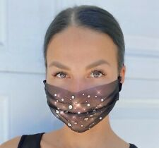 Stylish Rhinestone Mesh Fashion Face Mask Transparent Sheer Mouth Cover
