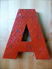 "INDUSTRIAL RED METAL WALL LETTER ""A"" 20"" TALL rustic vintage decor novelty sign"