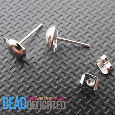 50 Silver Sets Half Ball Earring Ear Post Studs & Backs Metal Jewellery Findings