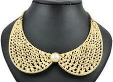 Elegant & Stylish Gold & White Pearls Collar Bib Necklace Choker N201
