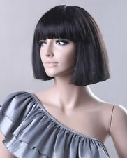 Free shipping short black straight synthetic wigs celebrity wig fluffy celebrity